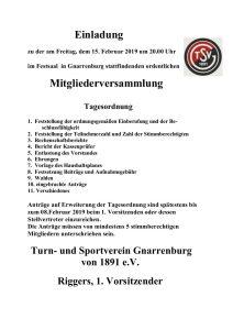 TSV Mitgliederversammlung